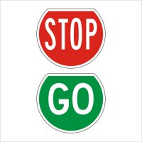 Stop Go Paddles Signs - Highway 1