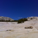 To catch a view of the Tuolumne River basin, drop your pack and head uphill on this rocky expanse. (day one)