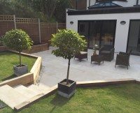 Contemporary Patio, Cheam, Surrey - Hillside Landscape ...