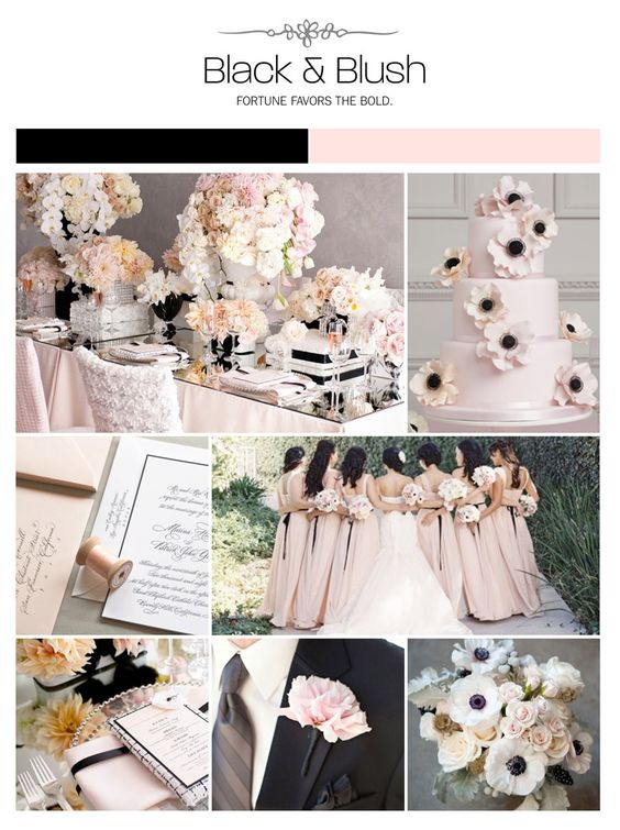 25 Chic Blush and Black Wedding Ideas Hi Miss Puff - pink black and white weddings