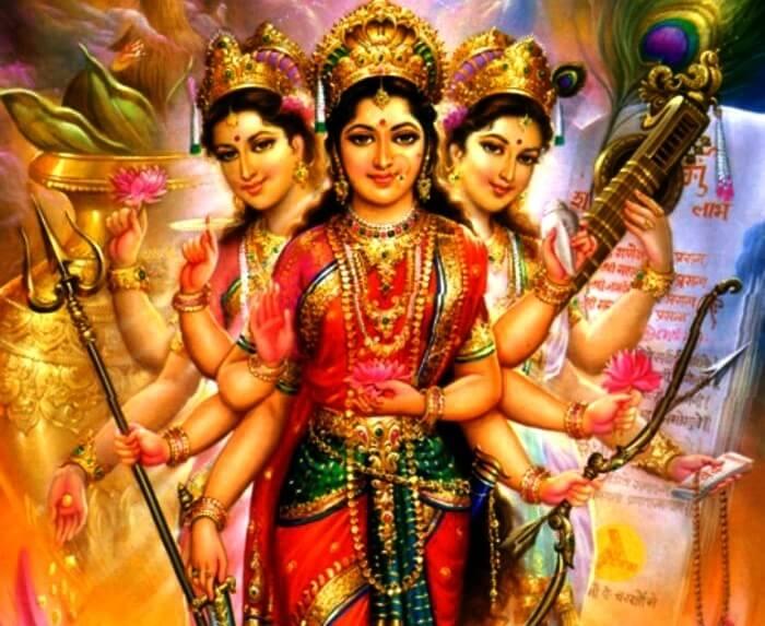 God Mahalakshmi Hd Wallpapers Tridevi The Three Supreme Goddess In Hinduism The