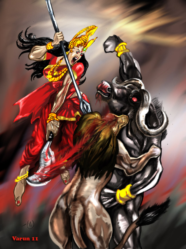 3d Wallpaper Durga Mata Battle Of The Ego Goddess Durga And Mahishasura Hindu