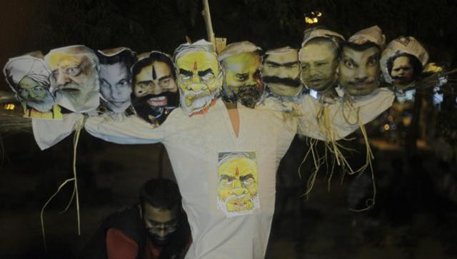 Ten-headed effigy of PM and others burnt by NSUI, which them claim 'does not represent Ravana'