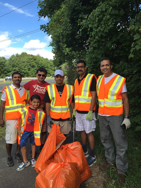 Sewa Day 2016 in Washington DC: Volunteers cleaned and picked-up trash as part of Adopt-a-highway program.