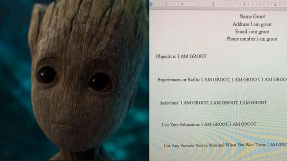 Give this kid an A This student wrote his resume as Groot and it\u0027s