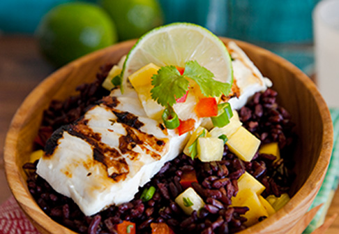 Black Rice with Pineapple-Mango Salsa and Cilantro-Lime Halibut