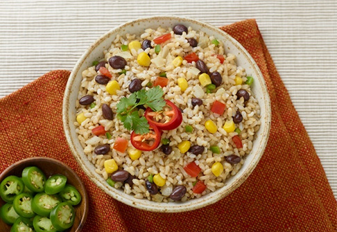 image of spicy brown rice and beans