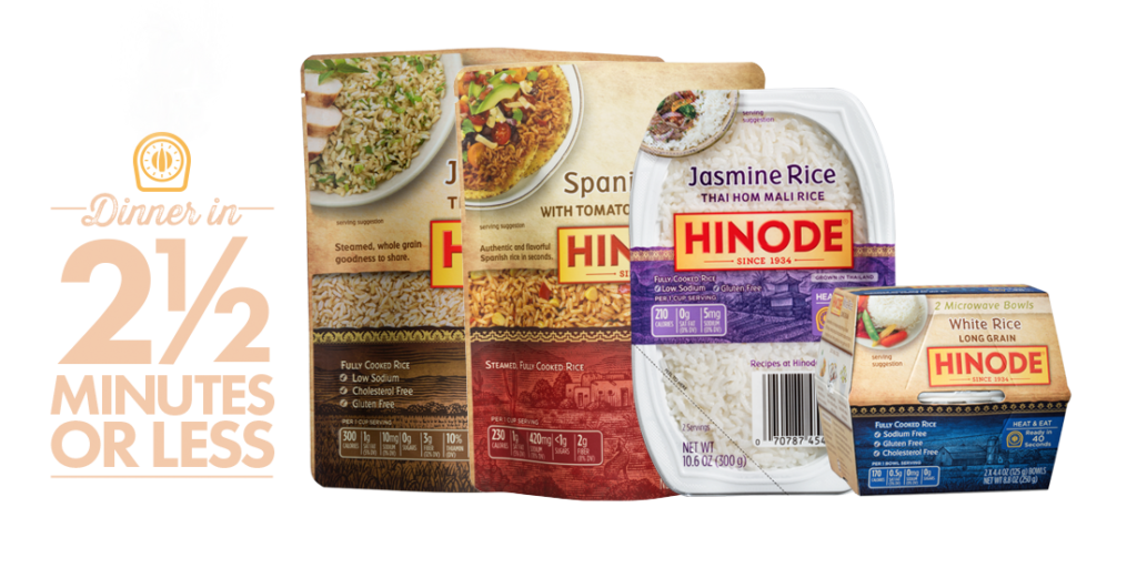 Hinode Rice, fast cook: jasmine rice, spanish rice and white rice