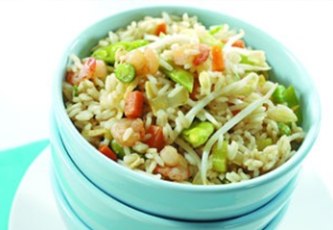 cantonese fried rice in a green bowl
