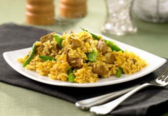 lamb rice with snow peas