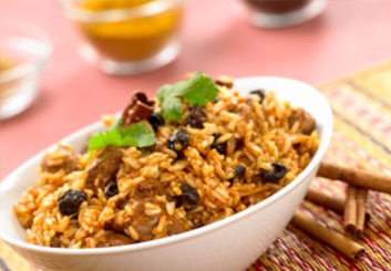 Hinode rice: Moroccan Rice with Lamb and Almonds Recipe