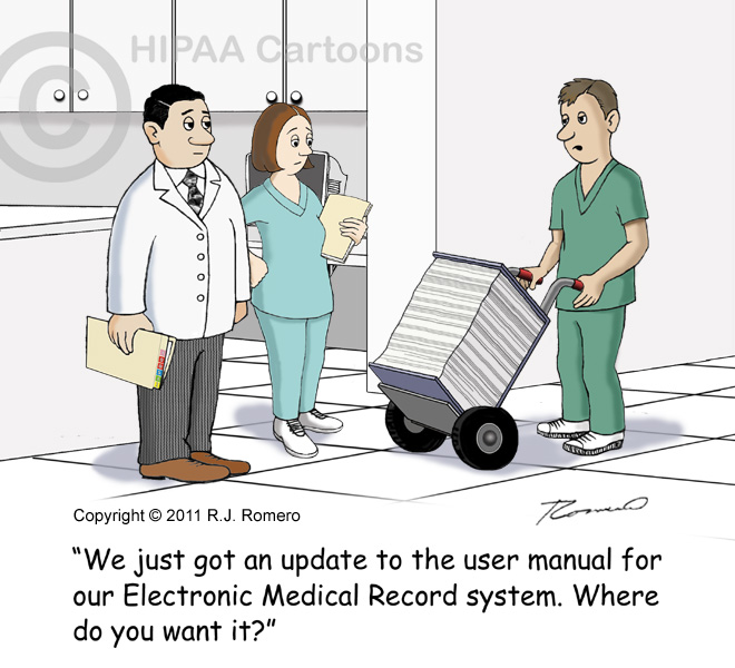 Cartoon-male-nurse-with-huge-book-says-its-an-update-to-user-manual-for-emr-system_emr111