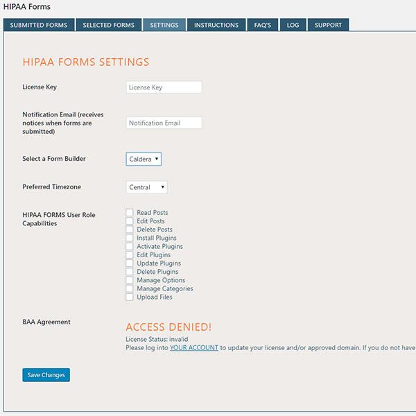 HIPAA FORMS Service for Wordpress - HIPAA WEB FORMS - hipaa form