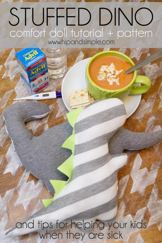 Stuffed Comfort Cuddle Dino Tutorial - Hero