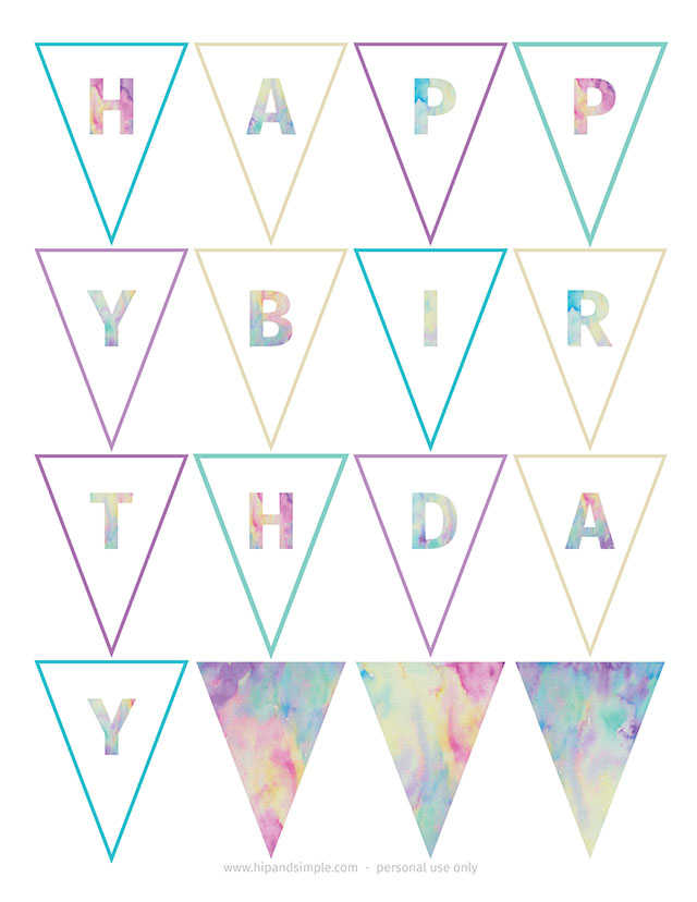 Watercolor Birthday Banner Free Printable_@hipandsimple