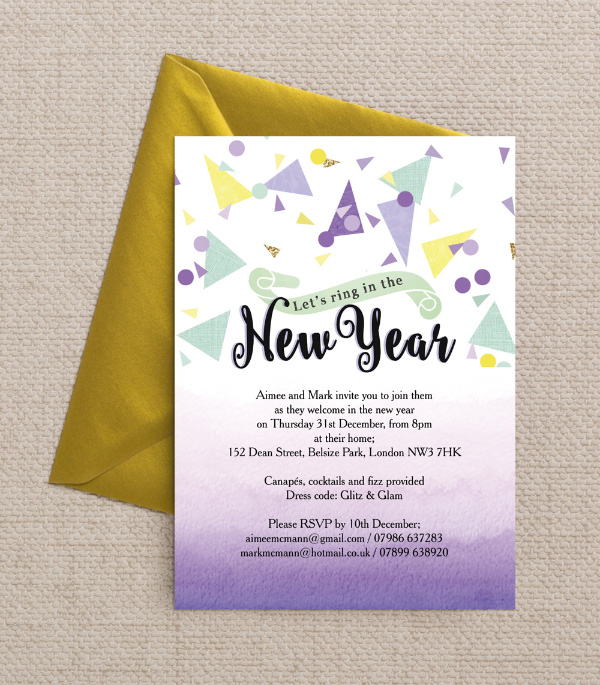 Printable  Printed New Year\u0027s Eve Party Invitations
