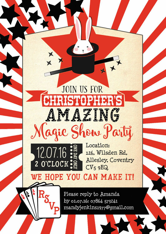 Magic Show Party Invitation from £080 each - circus party invitation