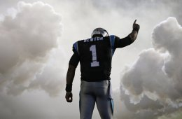 Carolina Panthers' Cam Newton (1) is introduced before an NFL football game against the Indianapolis Colts in Charlotte, N.C., Monday, Nov. 2, 2015.