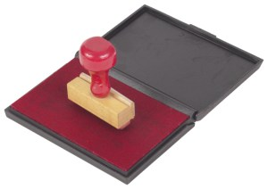 rubber stamp on red ink pad