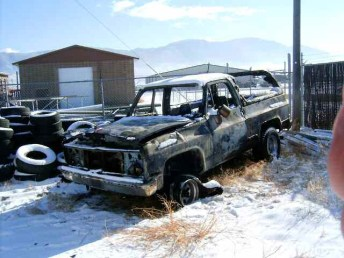 burned out blazer with mountains in distance