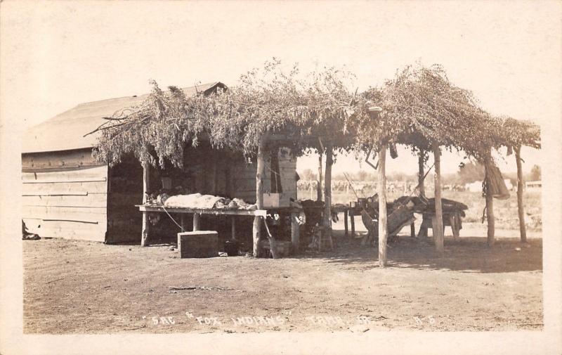 Tama Iowa~Sac Fox Indians Home~Tree Limbs on Shelter~Hammock~1912 - sac shelter