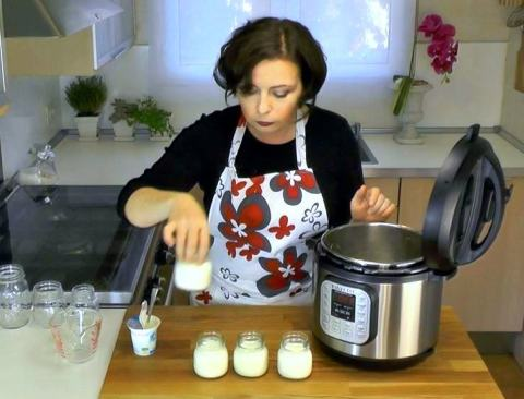 Laura Pazzaglia, of hip pressure cooking, making yogurt in the Instant Pot IP-DUO. This photo is a photo from an up-coming instructional video produced by Instant Pot.