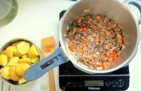 Add the stock and mix everything together.