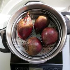 Beets in pressure cooker steamer basket