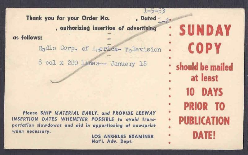 1953 POSTAL CARD LOS ANGELES CA, LOS ANGELES EXAMINER ORDER FORM