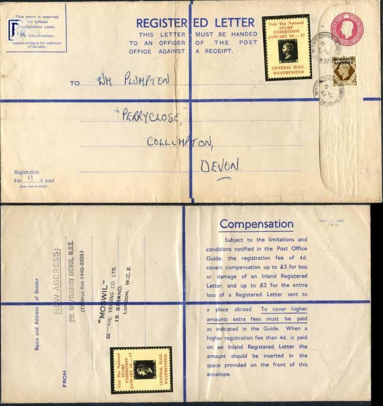 RP68 KGVI 6 1/2d Puce Registered Envelope Size K 2 pound on Back
