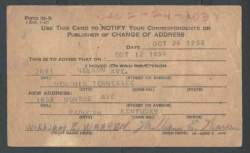 1950 USPost Office Dept Official Business Card Form #22-BTo Notify - official change of address form