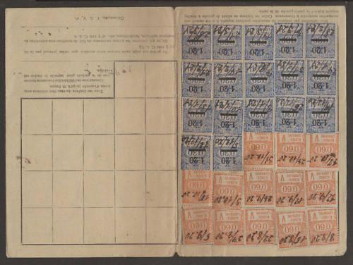 France, 1920-21 Employee Insurance Record Card 2;0 / HipStamp