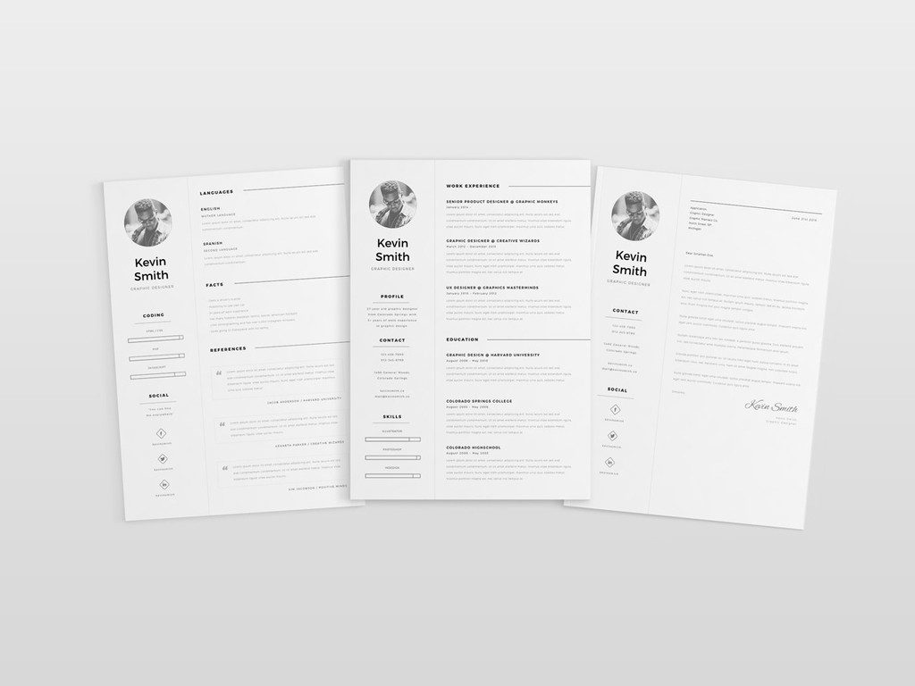 resume clean template indesign