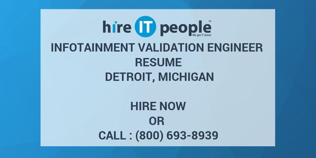 Infotainment Validation Engineer Resume Detroit, Michigan - Hire IT