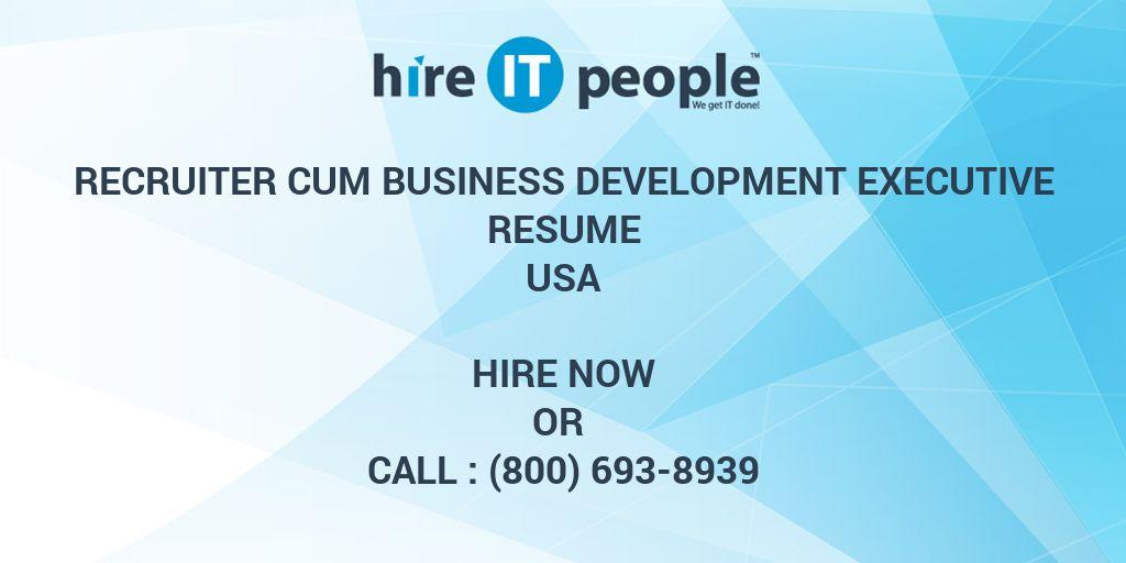 Recruiter cum Business Development Executive Resume - Hire IT People - business development resumes