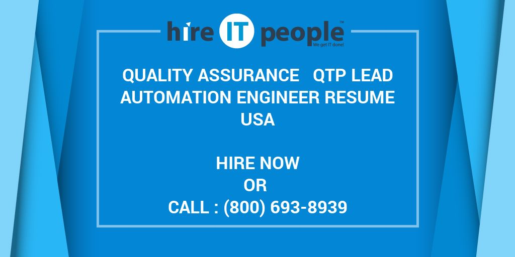 Quality Assurance   QTP Lead Automation Engineer Resume - Hire IT