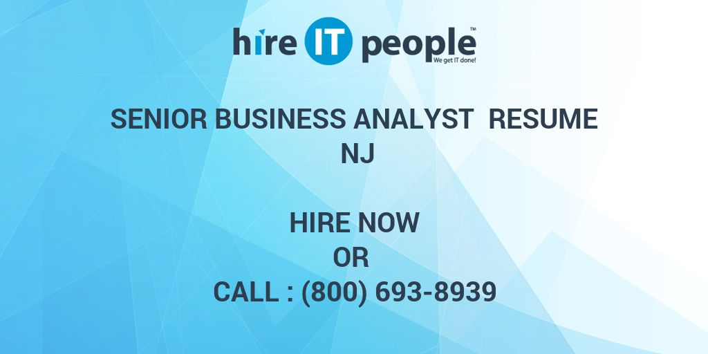 Senior Business Analyst Resume NJ - Hire IT People - We get IT done - cdo analyst sample resume