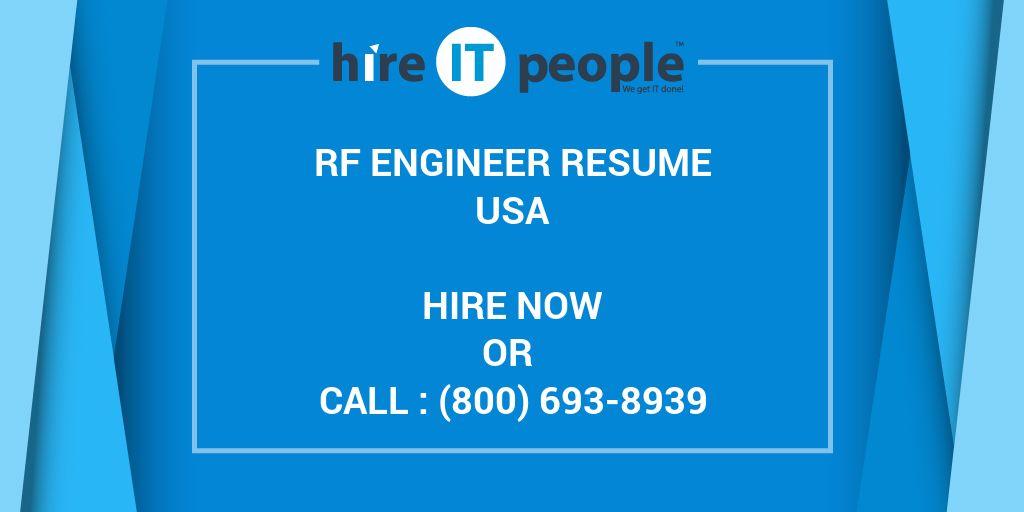 RF Engineer Resume - Hire IT People - We get IT done