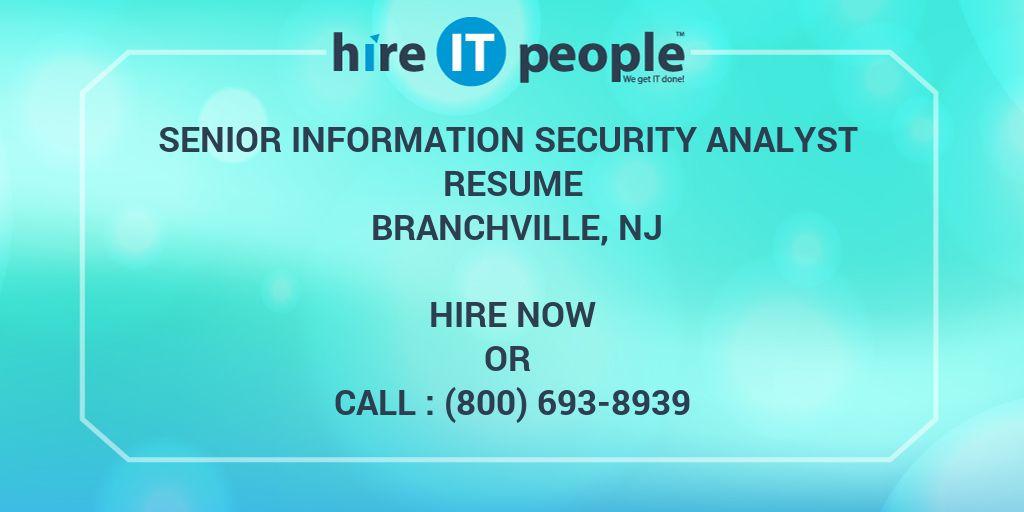 Senior Information Security Analyst Resume Branchville, NJ - Hire IT - information security analyst resume