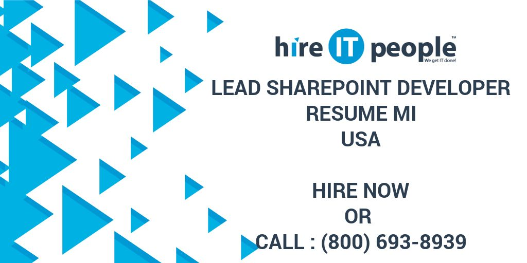 Lead SharePoint Developer RESUME MI - Hire IT People - We get IT done