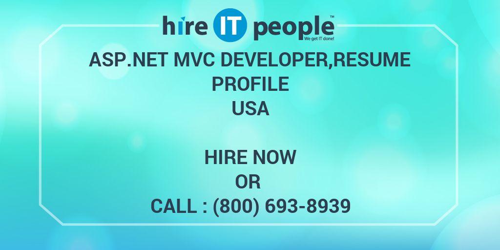 ASPNet MVC Developer,resume profile - Hire IT People - We get IT done