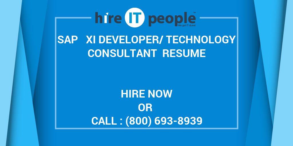 SAP   XI Developer/Technology Consultant Resume - Hire IT People - junior sap consultant resume