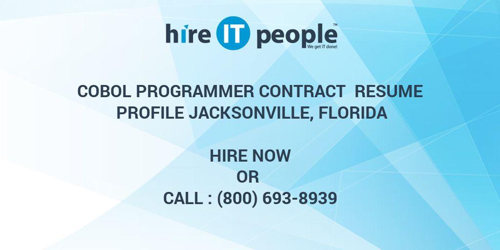 Cobol Programmer Contract Resume Profile Jacksonville, Florida
