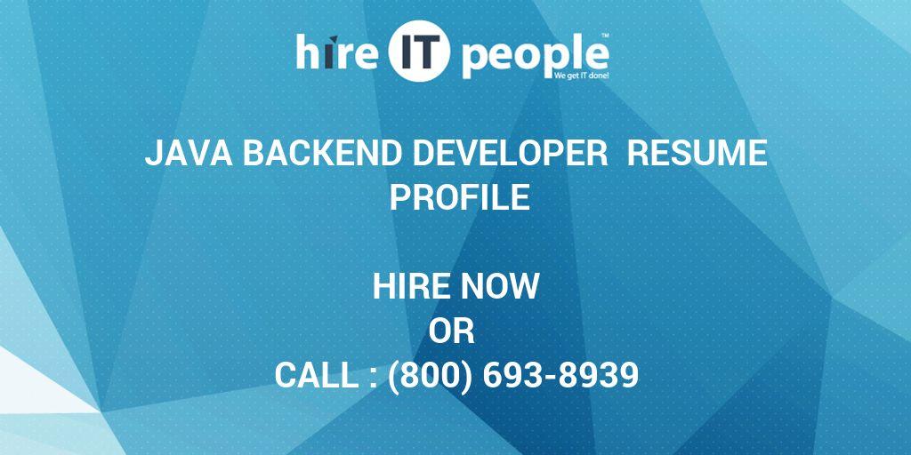 Beautiful Java Backend Developer Resume Profile Hire It People We