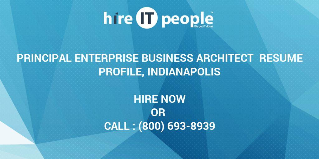 Principal Enterprise Business Architect Resume Profile, Indianapolis