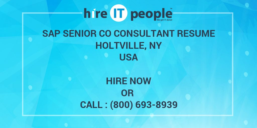 SAP Senior CO Consultant resume Holtville, NY - Hire IT People - We