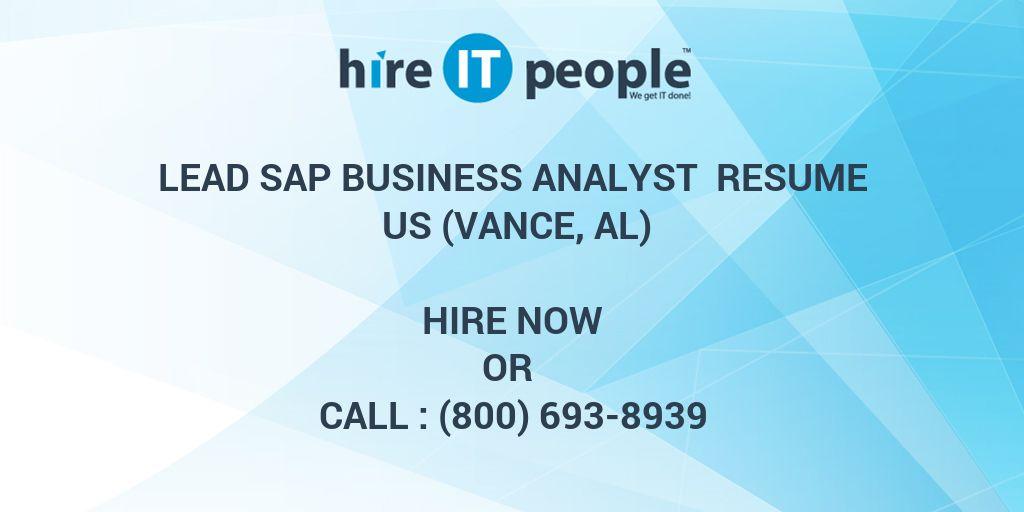 Lead SAP Business Analyst Resume US (Vance, AL) - Hire IT People