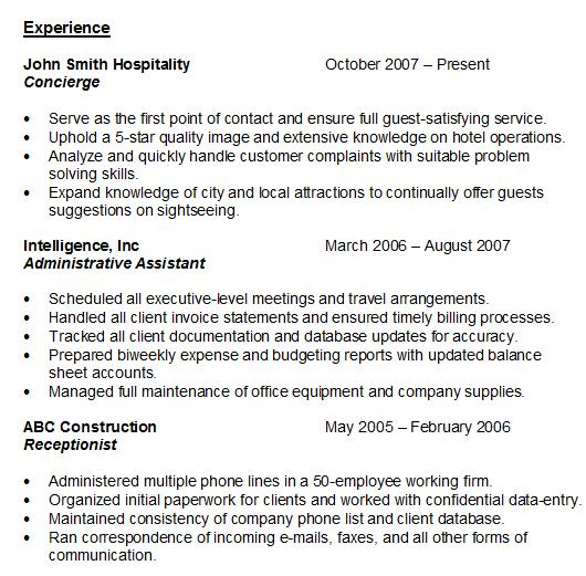 resume work experience current job
