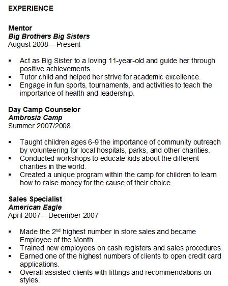 big brother big sister resume example