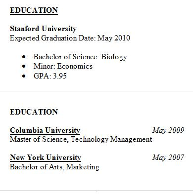 Resume Education - Tips  Samples